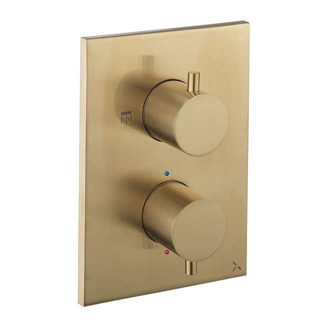 Crosswater MPRO Thermostatic 1 Outlet Shower Valve - Crossbox Technology - Brushed Brass