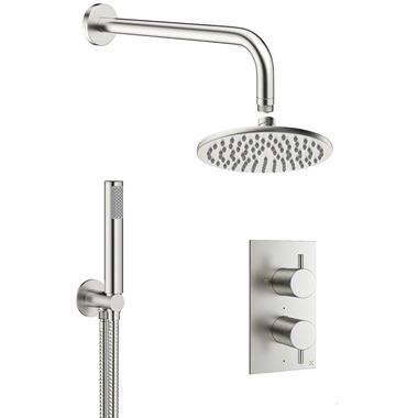 Crosswater MPRO 2 Outlet 2 Handle Shower Bundle - Brushed Stainless Steel Effect