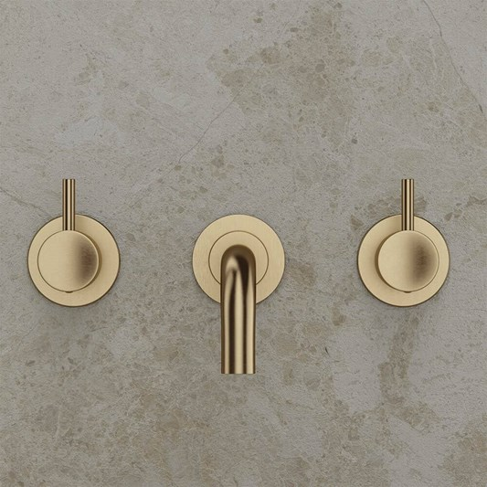 Crosswater MPRO 3 Hole Wall Mounted Basin Mixer Tap - Brushed Brass