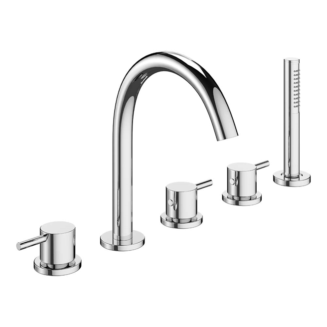 Crosswater MPRO 5 Hole Bath Mixer Tap with Shower Handset - Chrome