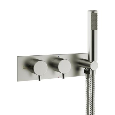 Crosswater MPRO 2 Outlet Concealed Thermostatic Bath Shower Valve with Handset - Brushed Stainless Steel