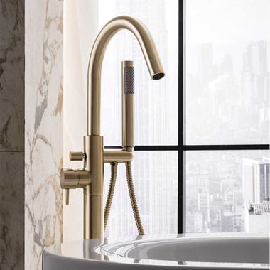 Crosswater MPRO Floorstanding Bath and Shower Mixer Tap - Brushed Brass