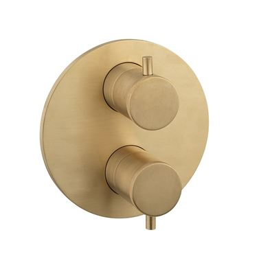 Crosswater MPRO Industrial Thermostatic 1 Outlet Shower Valve - Crossbox Technology - Unlacquered Brushed Brass