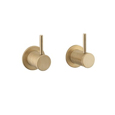 Crosswater MPRO Industrial Wall Stop Taps - Unlacquered Brushed Brass