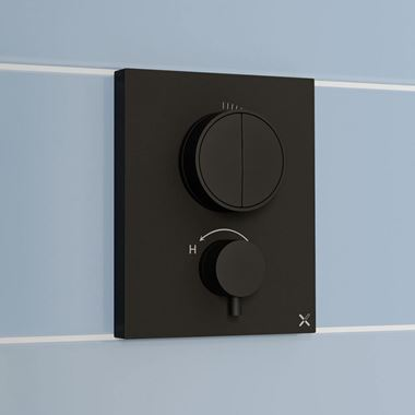 Crosswater MPRO Push 2 Outlet Concealed Valve - Crossbox Technology - Matt Black