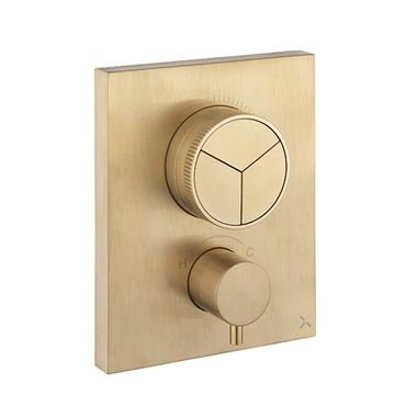 Crosswater MPRO Push 3 Outlet Concealed Valve - Crossbox Technology - Brushed Brass