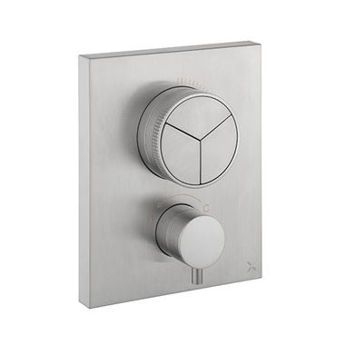 Crosswater MPRO Push 3 Outlet Concealed Valve - Crossbox Technology - Brushed Stainless Steel Effect