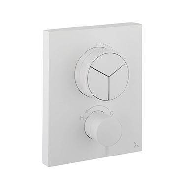 Crosswater MPRO Push 3 Outlet Concealed Valve - Crossbox Technology - Matt White