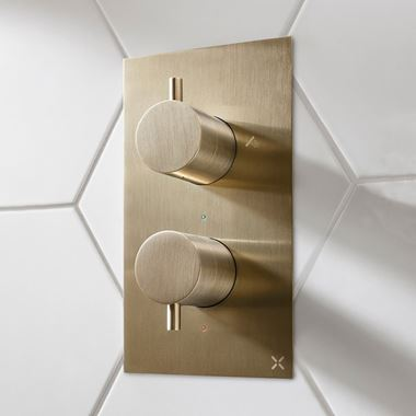 Crosswater MPRO 2 Outlet Concealed Thermostatic Bath and Shower Valve - Brushed Brass