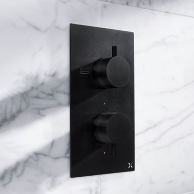 Crosswater MPRO 2 Outlet Concealed Thermostatic Bath and Shower Valve - Matt Black