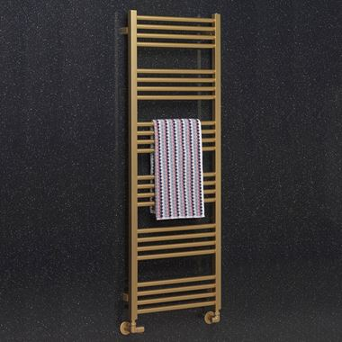 Crosswater MPRO Brushed Brass Heated Towel Rail - 1380 x 480mm