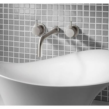 Crosswater MPRO 3 Hole Wall Mounted Basin Mixer Tap - Brushed Stainless Steel