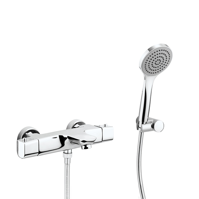 Crosswater North Thermostatic Exposed Bath Shower Mixer Tap with Kit - Chrome