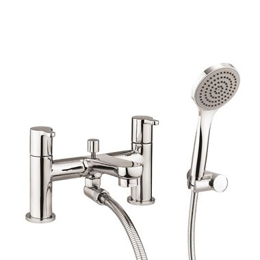 Crosswater Nova Deck Mounted Bath Shower Mixer Tap & Shower Kit - Chrome