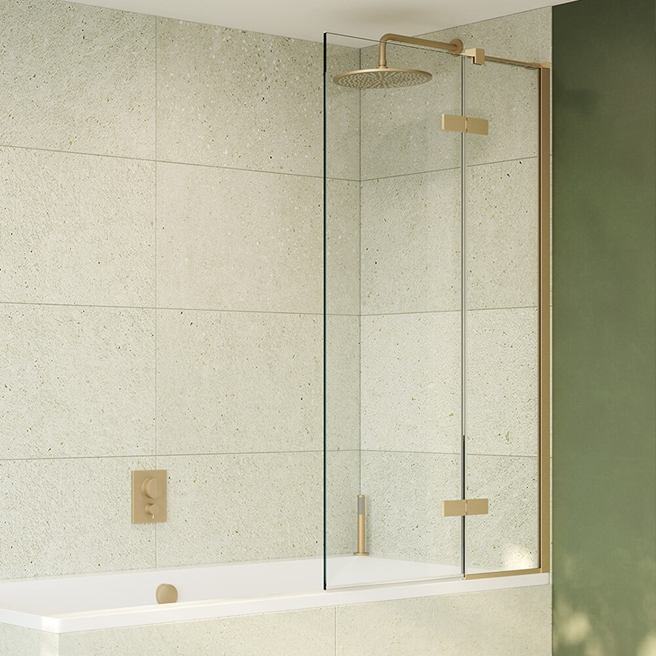Crosswater Optix 10 Bath Screen with Inline Panel - Brushed Brass - 1500 x 900mm