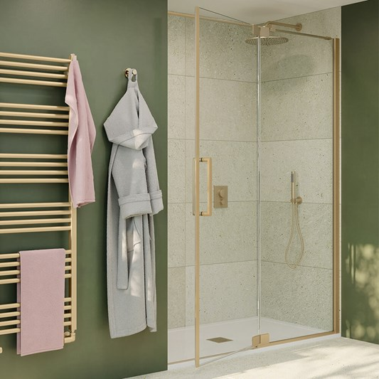 Crosswater Optix 10 Pivot Shower Door with Inline Panel and Optional Side Panel - Brushed Brass