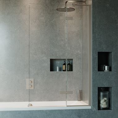 Crosswater Optix 10 Bath Screen with Inline Panel - Brushed Stainless Steel - 1500 x 900mm