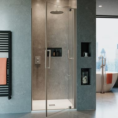 Crosswater Optix 10 Pivot Shower Door and Optional Side Panel - Brushed Stainless Steel
