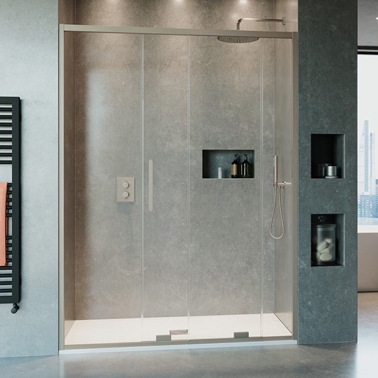 Crosswater Optix 10 Single Sliding Shower Door with Optional Side Panel - Brushed Stainless Steel