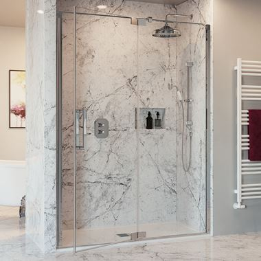 Crosswater Optix 10 Pivot Shower Door with Inline Panel and Optional Side Panel - Polished Stainless Steel