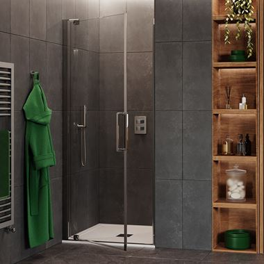 Crosswater Optix 10 Pivot Shower Door and Optional Side Panel - Polished Stainless Steel