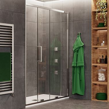 Crosswater Optix 10 Single Sliding Shower Door with Optional Side Panel - Polished Stainless Steel