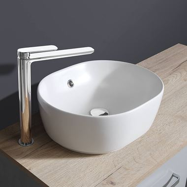 Crosswater Pearl Plus+Ton Matt White Countertop Basin - 450mm