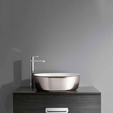 Crosswater Pearl Platinum Ceramic Countertop Basin with Overflow