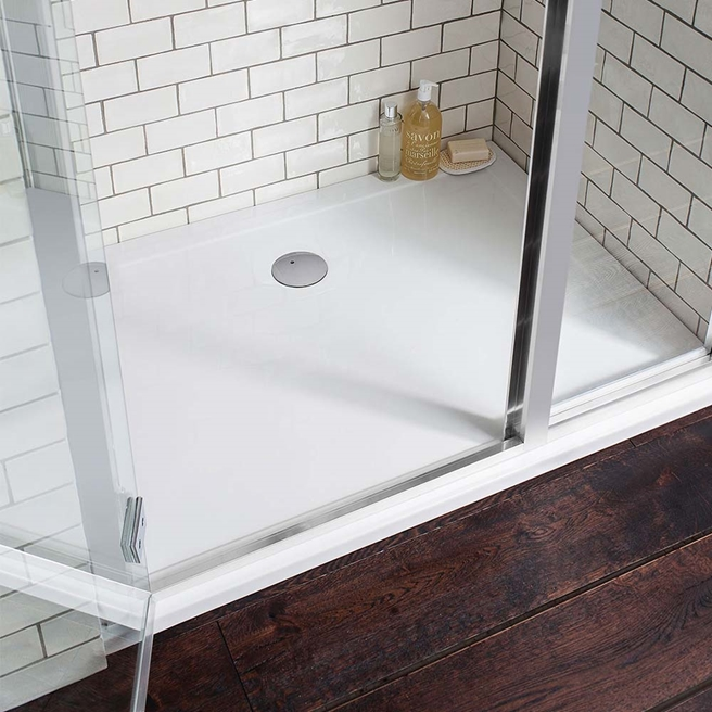 Crosswater 35mm Rectangular Anti-Slip Acrylic Shower Tray with Central Waste Position