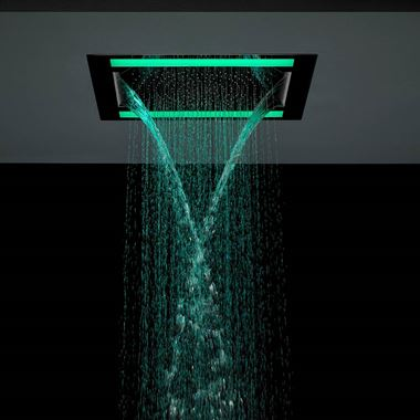 Crosswater Rio Revive Recessed Overhead Shower Head with Lights and Double Waterfall Feature