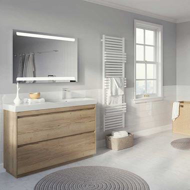 Crosswater Zion 1210mm Windsor Oak Floor Standing Vanity Unit - Left Hand Basin