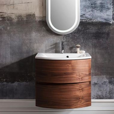 Crosswater Svelte 60 Wall Mounted Vanity Unit with Basin - 1 Tap Hole - American Walnut