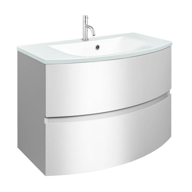 Crosswater Svelte 80 Wall Mounted Vanity Unit with Ice White Glass Basin
