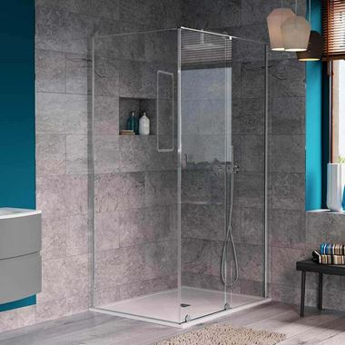 Crosswater Svelte 8mm Easy Clean 2m Tall Single Slider 1700mm Shower Door & 1200mm Side Panel