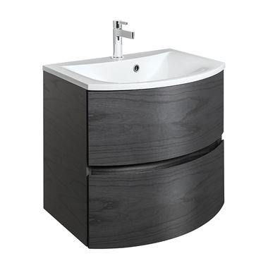 Crosswater Svelte 60 Wall Mounted Vanity Unit with Basin - No Tap Holes - Grey Ash Veneer