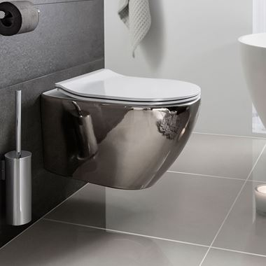 Crosswater Svelte Platinum Wall Hung Toilet & Soft Close Seat - 520mm Projection