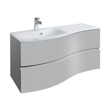 Crosswater Svelte 100 Wall Mounted Vanity Unit with Ice White Glass Basin - Storm Grey - 1 Tap Hole