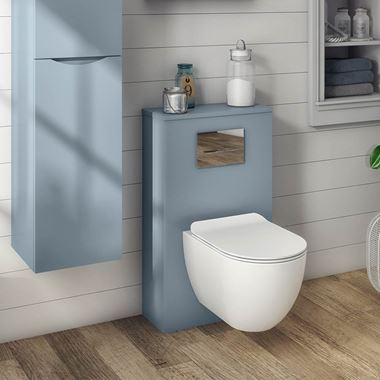 Crosswater Back To Wall Toilet Furniture Unit - Blue Smoke Matt