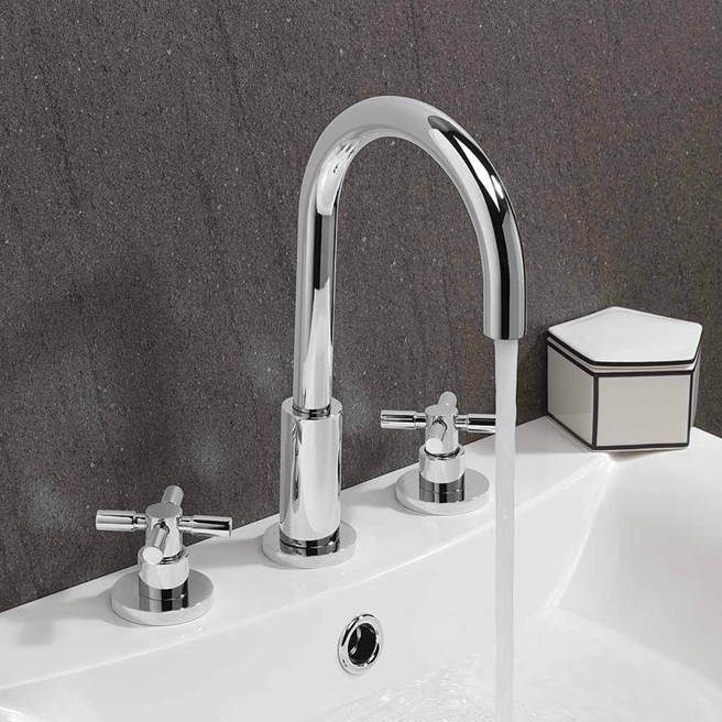 Crosswater Totti II 3 Hole Deck Mounted Basin Mixer Tap & Pop-Up Waste