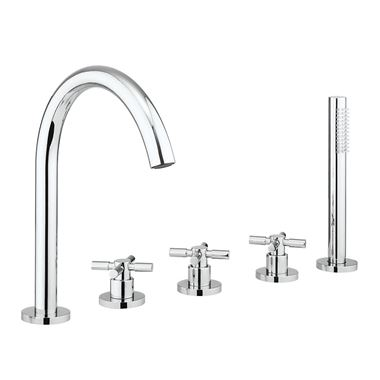 Crosswater Totti II 5 Hole Deck Mounted Bath Filler Tap with Shower Handset