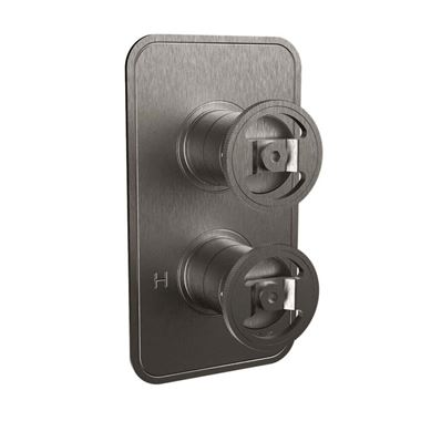 Crosswater Union 1 Outlet Concealed Thermostatic Shower Valve with Wheels - Brushed Black Chrome