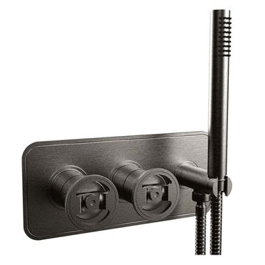 Crosswater Union 2 Outlet Concealed Thermostatic Bath Shower Valve with Wheels & Shower Handset - Brushed Black Chrome