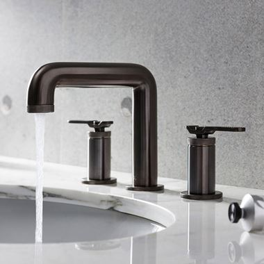 Crosswater Union 3 Hole Basin Mixer Tap with Lever - Brushed Black Chrome