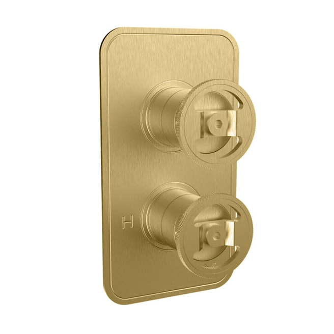 Crosswater Union 1 Outlet Concealed Thermostatic Shower Valve with Wheels - Brushed Brass