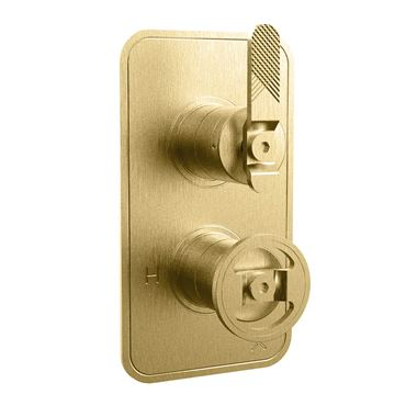Crosswater Union 1 Outlet Concealed Thermostatic Shower Valve with Lever & Wheel - Brushed Brass