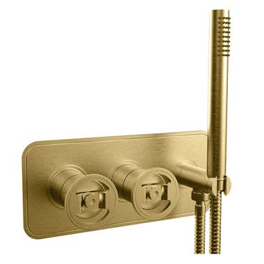 Crosswater Union 2 Outlet Concealed Thermostatic Bath Shower Valve with Wheels & Shower Handset - Brushed Brass