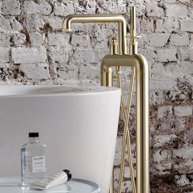 Crosswater Union Floorstanding Bath Shower Mixer Tap with Wheels - Brushed Brass