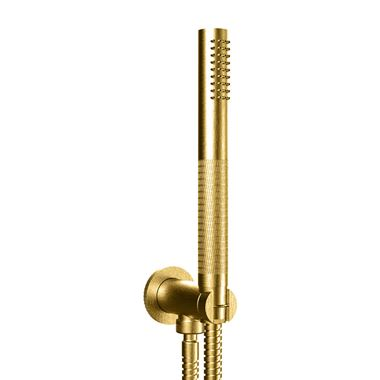Crosswater Union Shower Handset with Wall Outlet and Hose - Brushed Brass