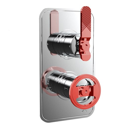 Crosswater Union 1 Outlet Concealed Thermostatic Shower Valve with Red Lever & Wheel - Chrome