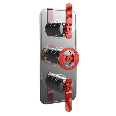 Crosswater Union 2 Outlet 3 Handle Concealed Thermostatic Shower Valve with Red Wheel & Levers - Chrome